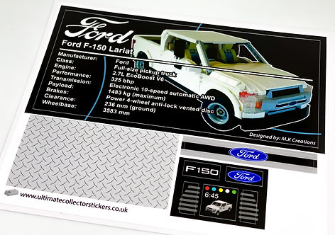 Lego UCS / MOC Sticker Sheet for Ford F-150 (MOC-51848)
