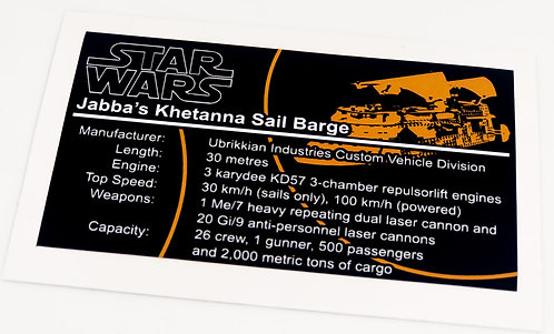 Lego Star Wars UCS / MOC Sticker for Jabba's Sail Barge 6210 / 75020 / Anio ST15