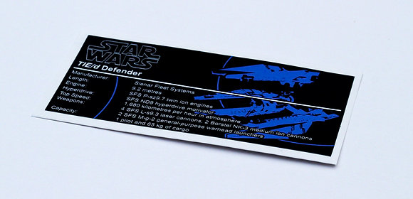 Lego Star Wars UCS / MOC Sticker for TIE Defender 8087