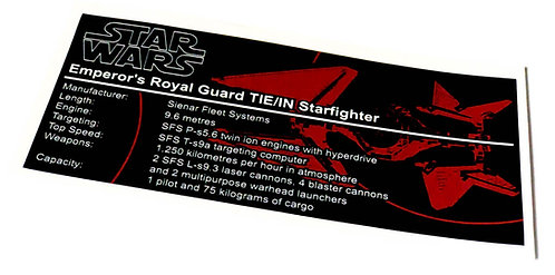 Lego Star Wars UCS / MOC Sticker for Royal Guard Tie Fighter + Instructions