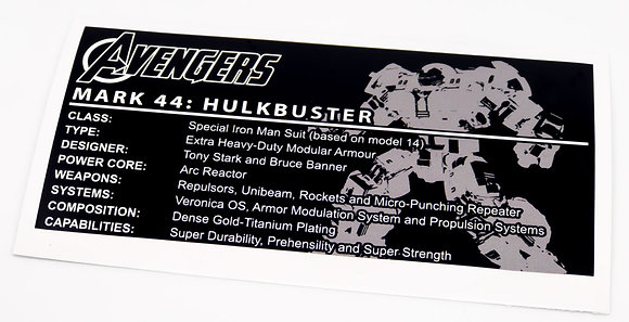 Lego Avengers UCS Sticker for The Hulkbuster Ultron Edition 76105