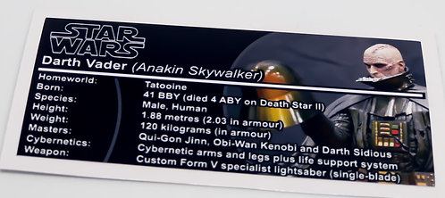 Lego Star Wars Buildable Figure Sticker for Darth Vader 75534