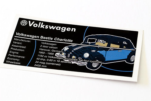 Lego Creator UCS Sticker for Volkswagen Beetle 10187