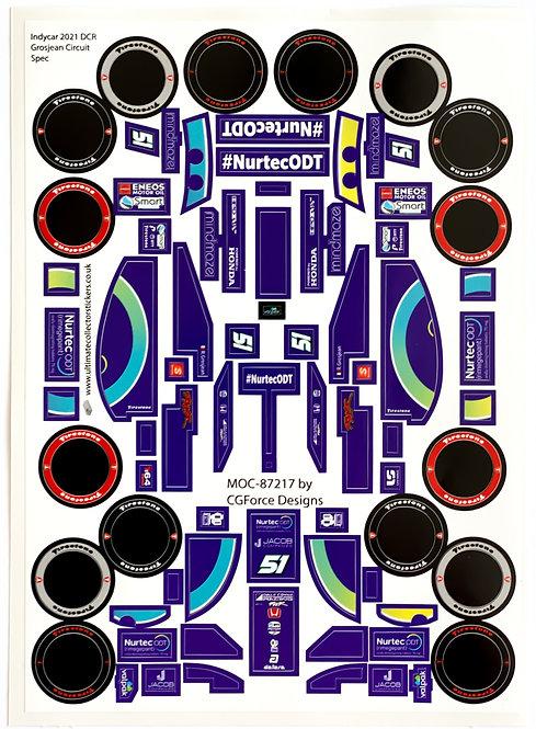 Sticker Sheet for Indycar 2021 DCR Grosjean Circuit Spec by LegoCG (MOC-87217)