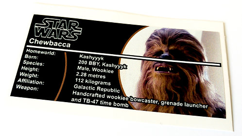 Lego Star Wars Buildable Figure Sticker for Chewbacca (75530)