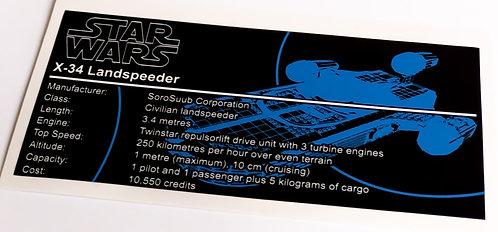 Lego Star Wars UCS / MOC Sticker for Lukes Landspeeder (8092 / 75173)