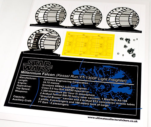 Lego Star Wars UCS / MOC Sticker Sheet for Kessel Run Millennium Falcon (75192)