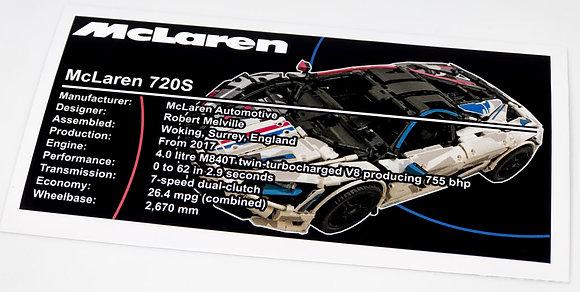 Lego Technic UCS / MOC Sticker for McLaren 720S