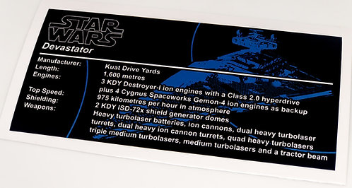 Lego Star Wars UCS Sticker for Imperial Star Destroyer, Devastator 75252