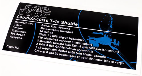 Lego Star Wars UCS Sticker for Imperial Shuttle (75094 / 10212) - Version 2