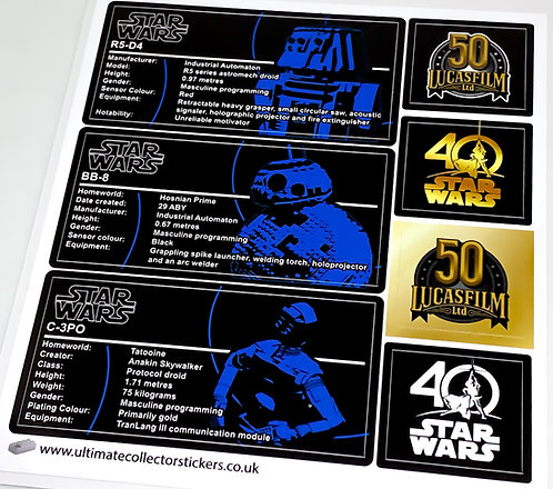 Lego Star Wars UCS / MOC Stickers for 40th Anniversary Droids