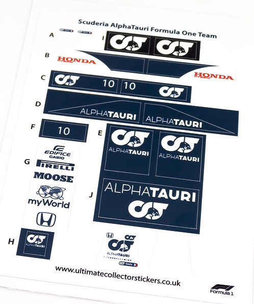 Lego Sticker Sheet for Speed Champions AlphaTauri F1 Team