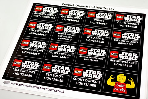 Lego Star Wars UCS / MOC Stickers for Lightsabers Pack 1 (built_bricks)