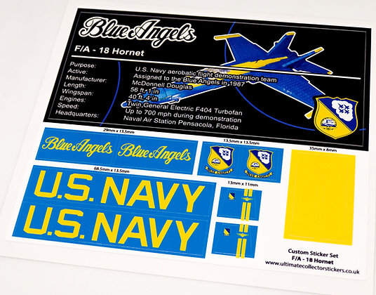Lego MOC Sticker Sheet for F/A 18 Hornet Blue Angels