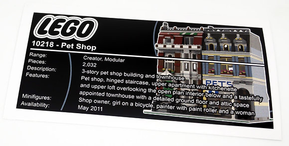 Lego Creator UCS Sticker for Pet Shop 10218