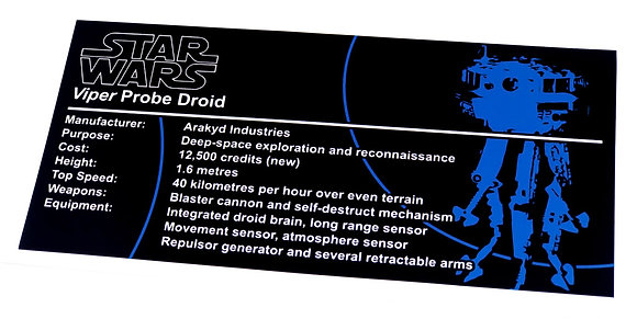Lego Star Wars UCS / MOC Sticker for Imperial Probe Droid + Instructions