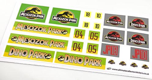 Lego Sticker Sheet for Jurassic Park Jeep And Explorer (Brick Vault)