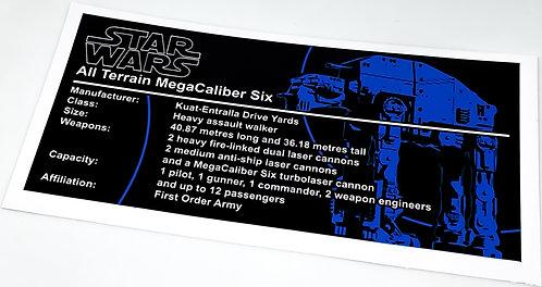 Lego Star Wars UCS Sticker for First Order Heavy Assault Walker AT-M6 (Jhaelego)