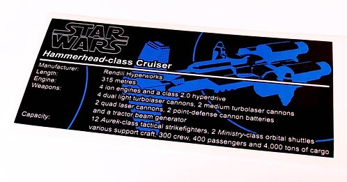 Lego Star Wars UCS / MOC Sticker for Hammerhead Corvette + Instructions