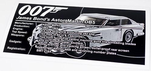 Lego Creator UCS Sticker for James Bond's Aston Martin DB5 10262