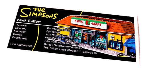 Lego Simpsons UCS Sticker for Kwik-E-Mart 71016