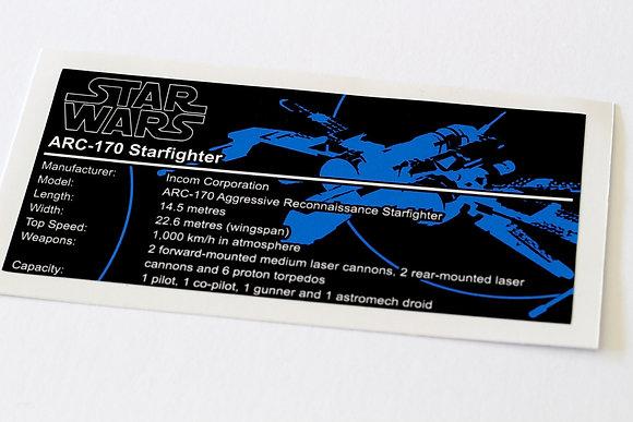 Lego Star Wars UCS Sticker for ARC-170 Fighter (7259 / 8088)