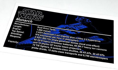 Lego Star Wars UCS Sticker for Imperial Star Destroyer, Monarch (MOC-23556)