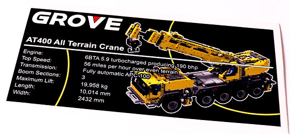 Lego Technic UCS / MOC Sticker for Mobile Crane 42009
