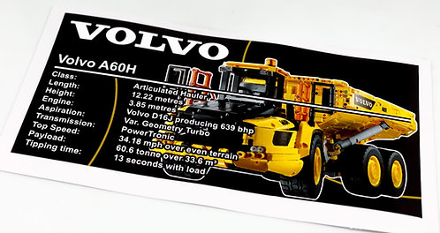 Lego Technic UCS / MOC Sticker for 6x6 Volvo Articulated Hauler 42114 (A60H)