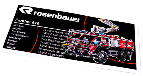Lego Technic UCS Sticker for Airport Rescue Vehicle 42068