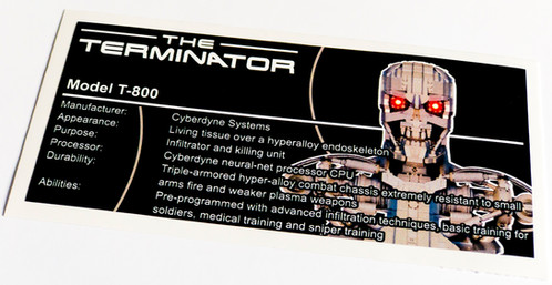 Lego creator ucs moc sticker for the terminator t 800