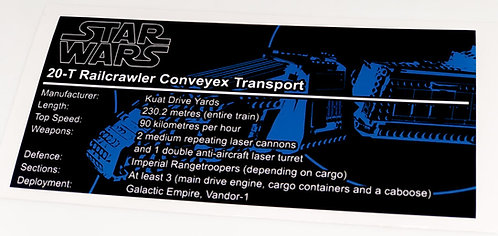 Lego Star Wars UCS / MOC Sticker for Imperial Conveyex Transport 75217