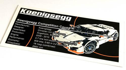 Lego Technic Moc Sticker For Koenigsegg Ccx Predator Instructions