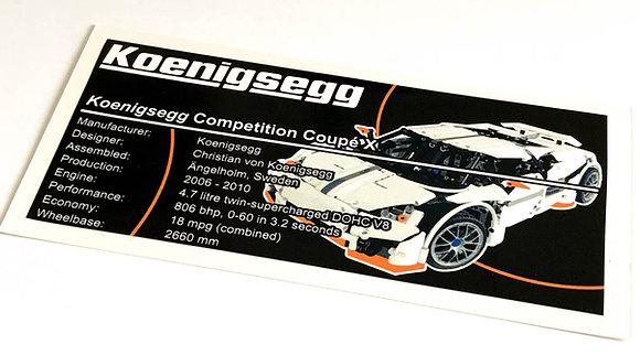 Lego Technic MOC Sticker for Koenigsegg CCX / Predator + Instructions