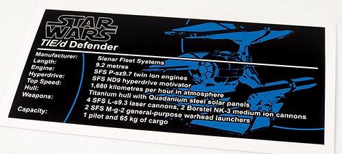 Lego Star Wars UCS / MOC Sticker for TIE Defender (Brick Vault)
