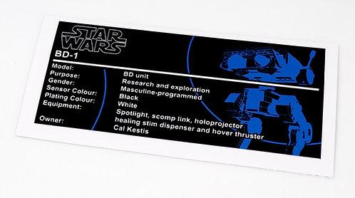 Lego Star Wars UCS / MOC Sticker for BD-1 (small)