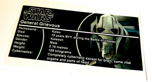 Lego Star Wars Buildable Figure Sticker for General Grievous (75112)