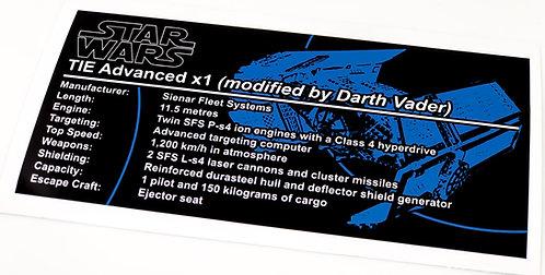 Lego Star Wars UCS Sticker for TIE Advanced 10175