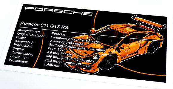 Lego Technic UCS / MOC Sticker for Porsche 911 GT3 RS 42056