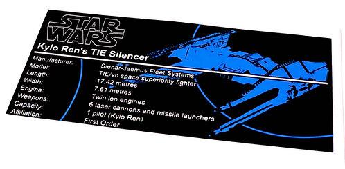 Lego Star Wars UCS / MOC Sticker for Kylo Ren's TIE Fighter (Silencer) 75179