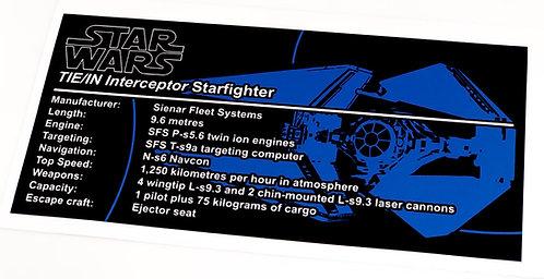 Lego Star Wars UCS / MOC Sticker for TIE Interceptor (custom)
