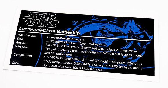 Lego Star Wars UCS / MOC Sticker for Lucrehulk-Class Battleship