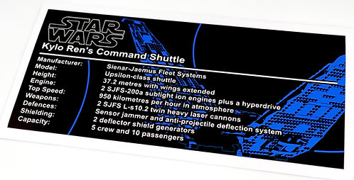 Lego Star Wars UCS Sticker for Kylo Ren's Command Shuttle (75104, 75256)