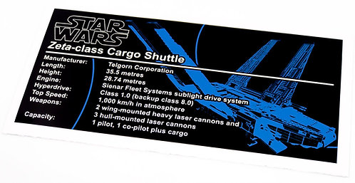 Lego Star Wars UCS / MOC Sticker for Zeta Class Cargo Shuttle (MOC-26523)
