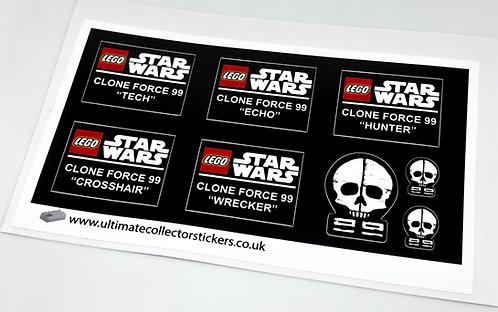 Lego Star Wars UCS / MOC Stickers for Bad Batch Clone Force Helmets