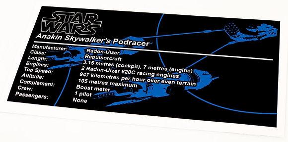 Lego Star Wars UCS / MOC Sticker for Anakin's Podracer (7131 / 7962 / Anio ST03)