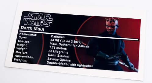 Lego Star Wars Buildable Figure Sticker for Darth Maul 75537
