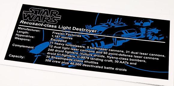 Lego Star Wars UCS / MOC Sticker for Recusant-class Light Destroyer