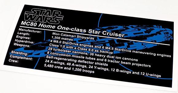 Lego Star Wars UCS / MOC Sticker for MC80 Home One type Star Cruiser