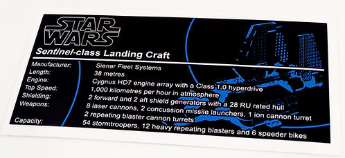 Lego Star Wars UCS / MOC Sticker for Imperial Landing Craft (7659 / 75221)